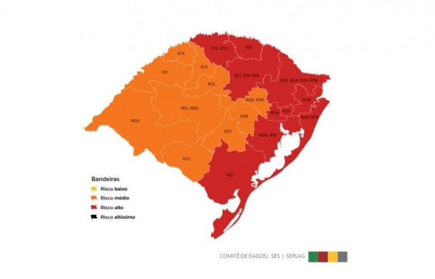 Mapa dividido ao meio: metade laranja e metade vermelha