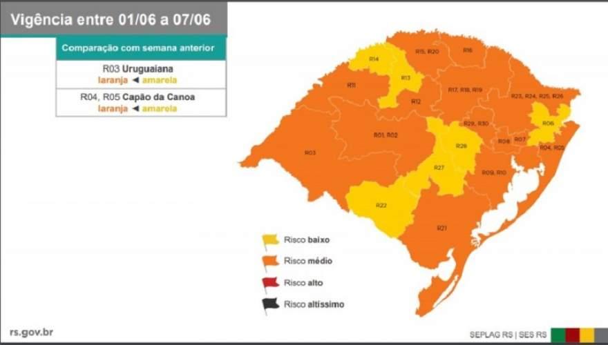 No mapa divulgado neste sábado, 30, bandeira laranja (risco médio) predomina