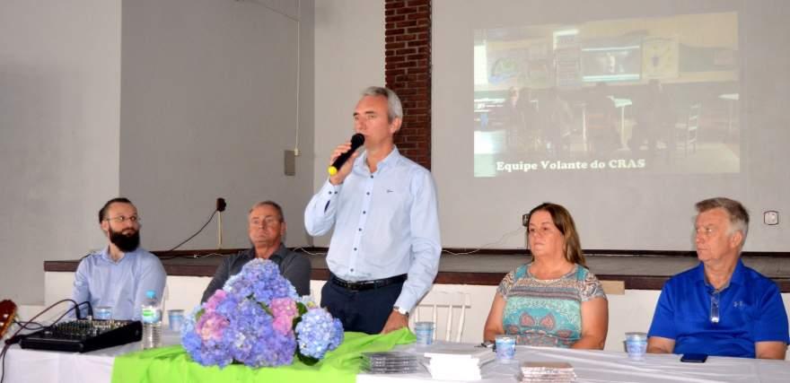 Prefeito Paulo Butzge participou da solenidade de abertura - Crédito: Erni Bender / Prefeitura de Candelária