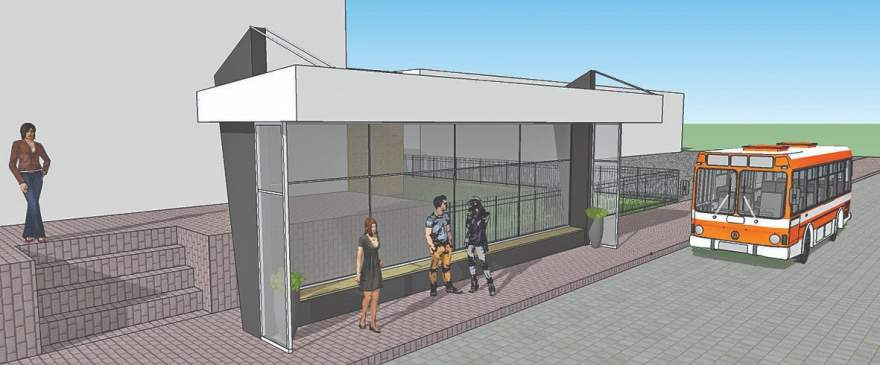 O desenho da nova parada, com pilares de concreto, vedação em alumínio e vidro temperado