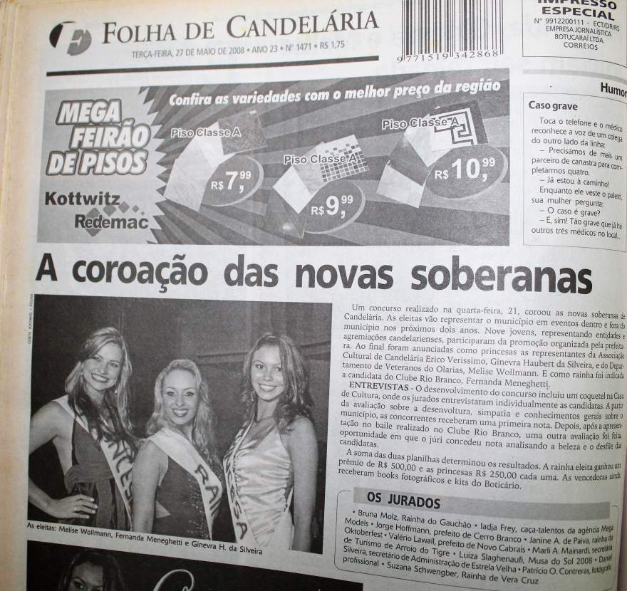 Na Folha, destaque para as vencedoras do concurso de 2008