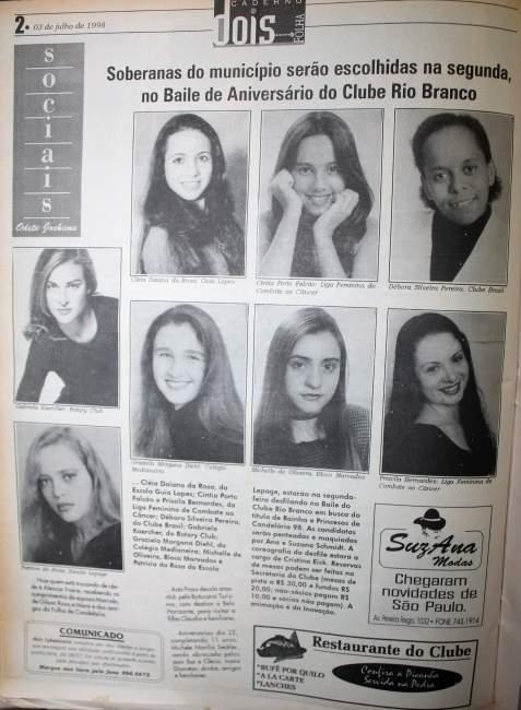 Na Folha, as candidatas ao concurso de 1998