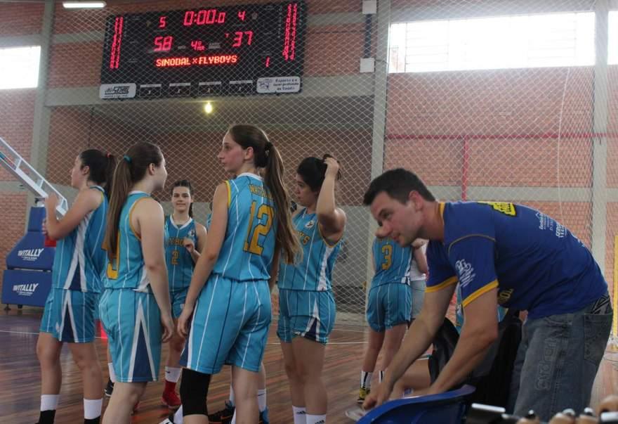 Placar mostra o resultado final do jogo: 58 a 37 para o Colégio Sinodal