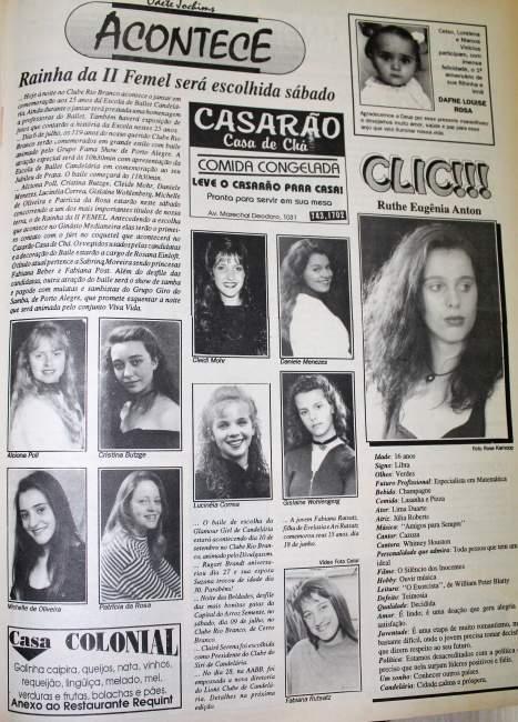 Na Folha, as candidatas ao concurso para escolher a Rainha e Princesas da II Femel