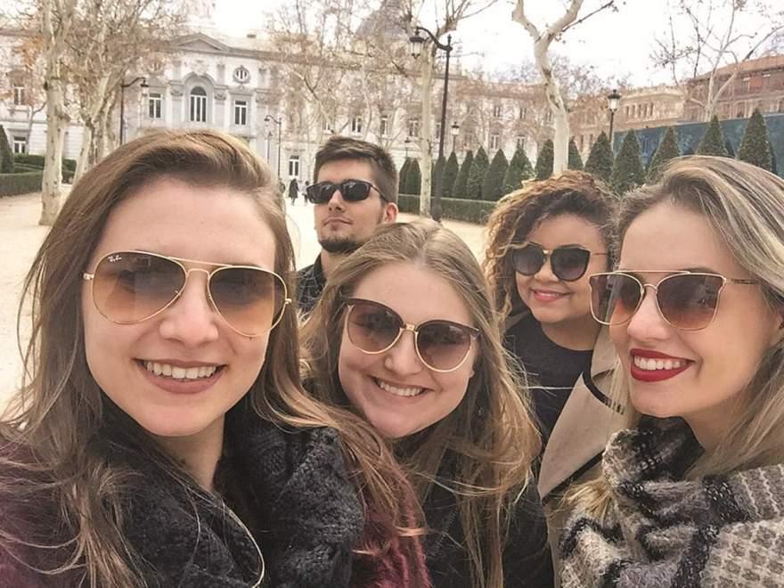 O grupo de estudantes da Unisc que participou do Intercâmbio na Espanha