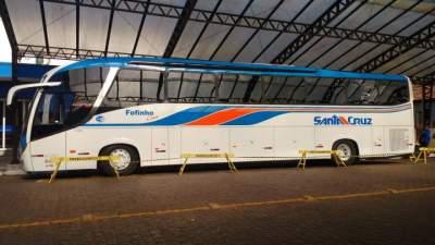 Novo ônibus da Viação União Santa Cruz é exposto na Rua Coberta