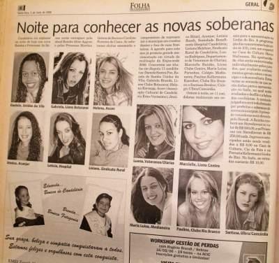 Na Folha, as candidatas ao concurso de 2006