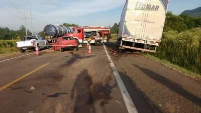 Acidente ocorreu no quilômetro 131 da RSC-287, na localidade de Linha Facão