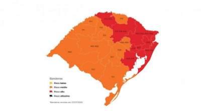 O mapa definitivo: 12 regiões na bandeira laranja e oito na vermelha