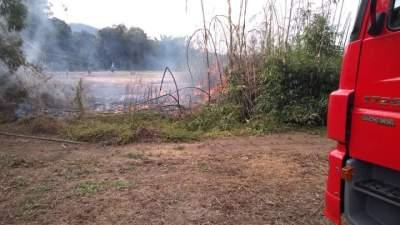 Bombeiros combatem fogo em taquareira