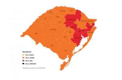 No mapa definitivo, apenas seis das 12 regiões ficam na bandeira vermelha