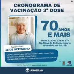 Tem início a vacinação de idosos de 70 anos ou mais com dose de reforço