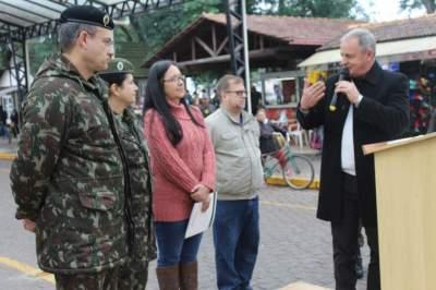 Manifestação do vice-prefeito Nestor Ellwanger durante a solenidade na rua Coberta