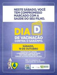 Sábado é o dia D de vacinação contra a volta do sarampo