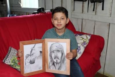 Na arte do desenho, os sonhos do menino Henrique Rodrigues Linhar
