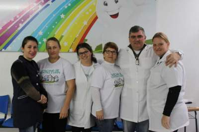 A equipe de vacinação do posto central